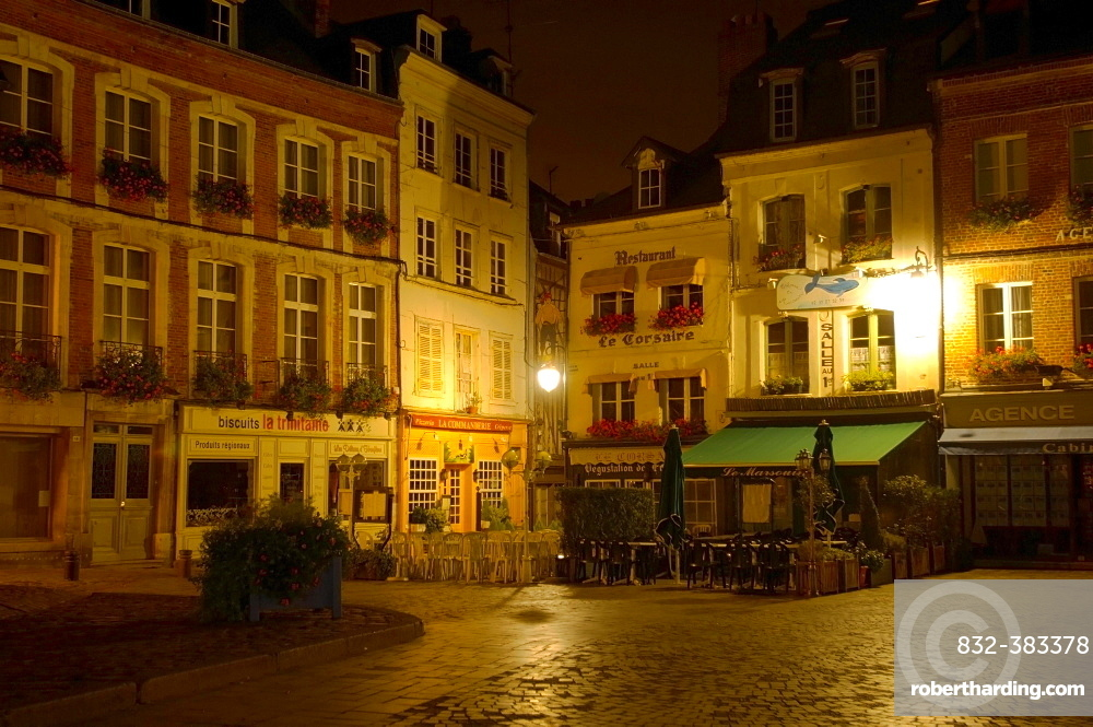 Market place and restaurants at night, Honfleur, Normandy, France, Europe