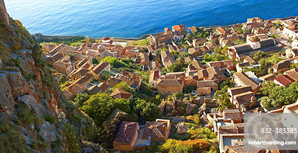 Townscape of Monemvasia, Peloponnese, Greece, Europe