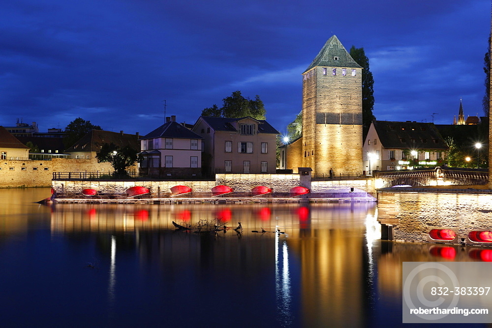 Historic city fortifications at night, Strasbourg, Alsace, France, Europe