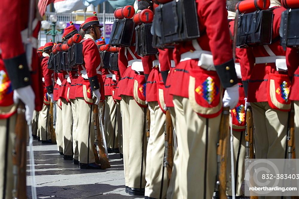 Presidential Guard in historical uniform on Plaza Murillo square, La Paz, Bolivia, South America