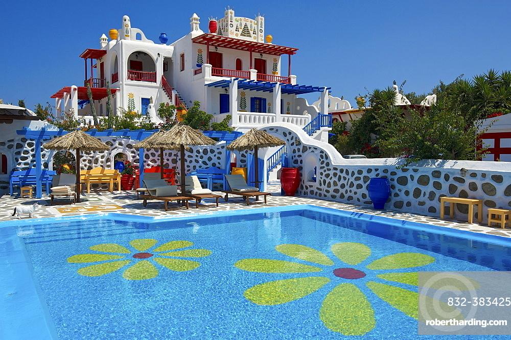 Hotel near Ano Mera, Mykonos, Cyclades, Greece, Europe