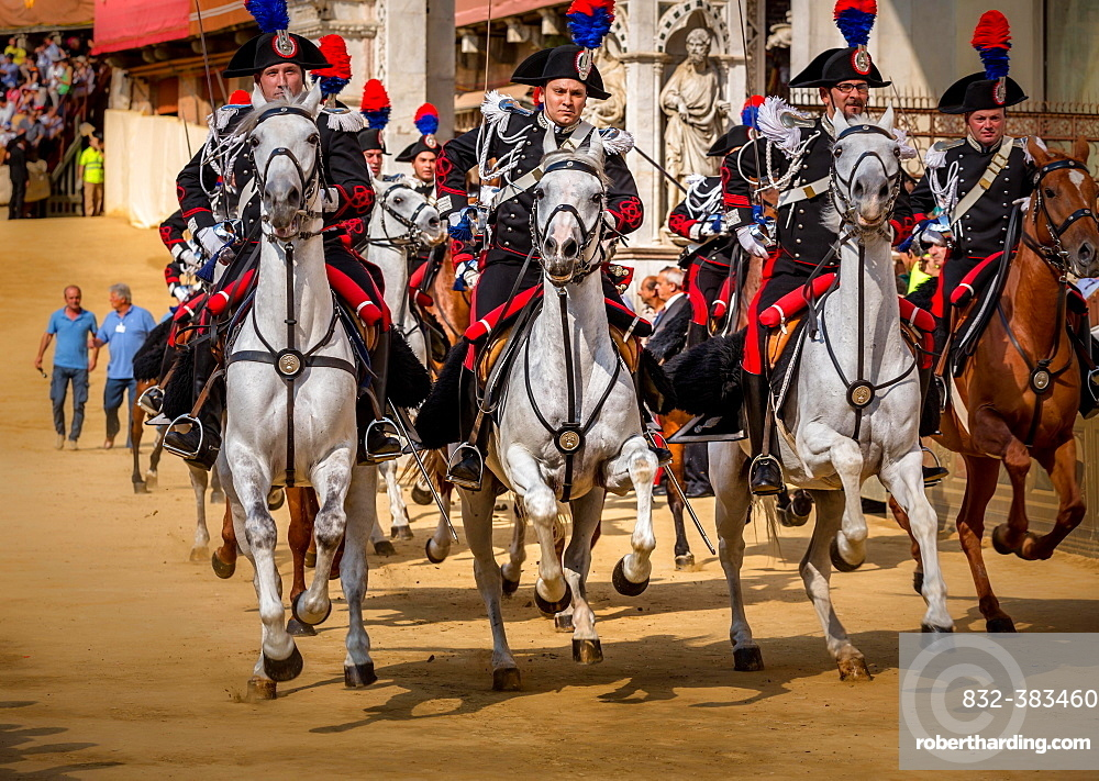 Cavalry charge, historical parade, Siena, Tuscany, Italy, Europe