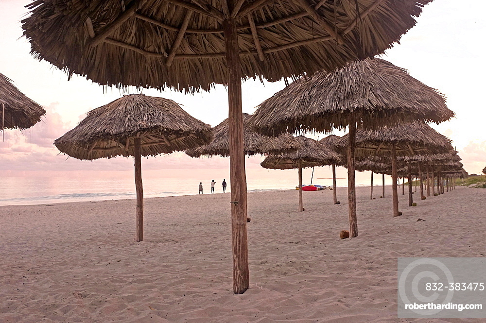 Umbrellas on the beach of Varadero, Hicacos Peninsula, Matanzas Province, Cuba, Central America