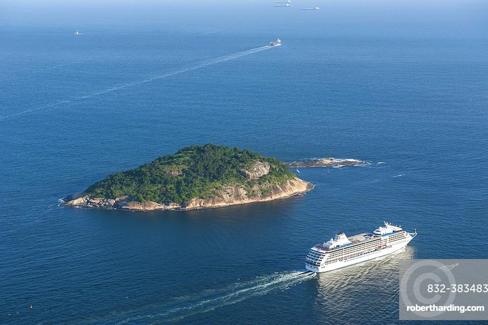 View from the Sugarloaf Mountain or Pao de Acucar onto a cruise ship, Rio de Janeiro, Brazil, South America