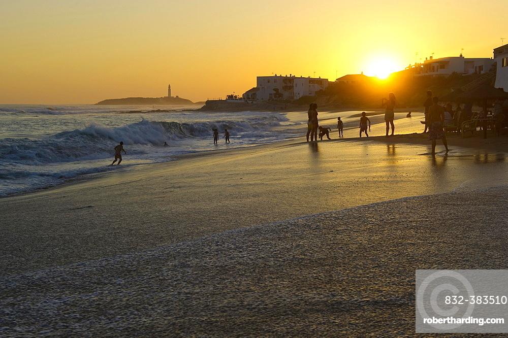 Beach at sunset, Los Canos de Meca, Cadiz province, Costa de la Luz, Andalusia, Spain, Europe