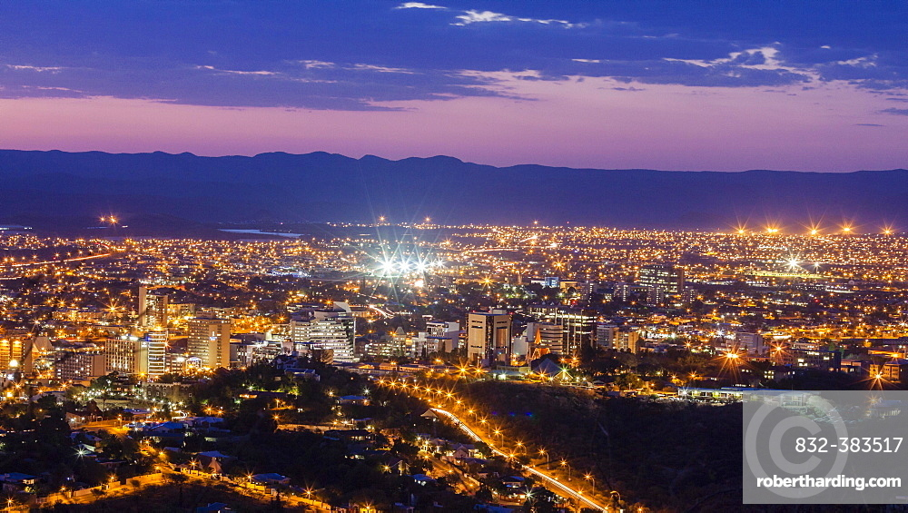 City centre a night, Windhoek, Namibia, Africa