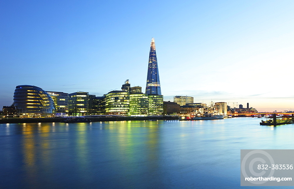Skyline with City Hall and The Shard with Themse at dusk, London, England, United Kingdom, Europe