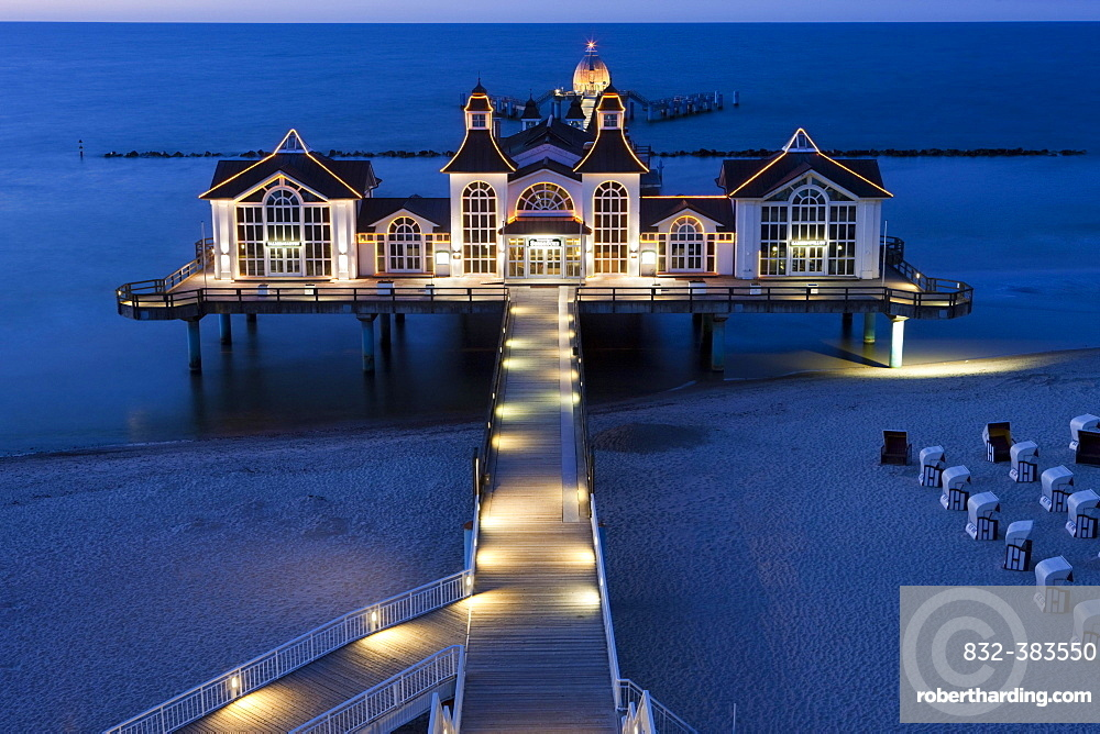 Lighted Sellin Pier, Rugen Island, Mecklenburg-Western Pomerania, Germany, Europe