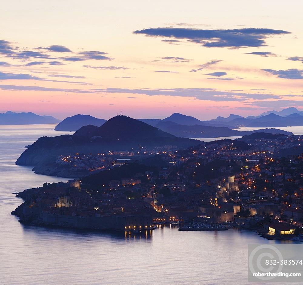 Twilight view of Dubrovnik, Dalmatia, Croatia, Europe