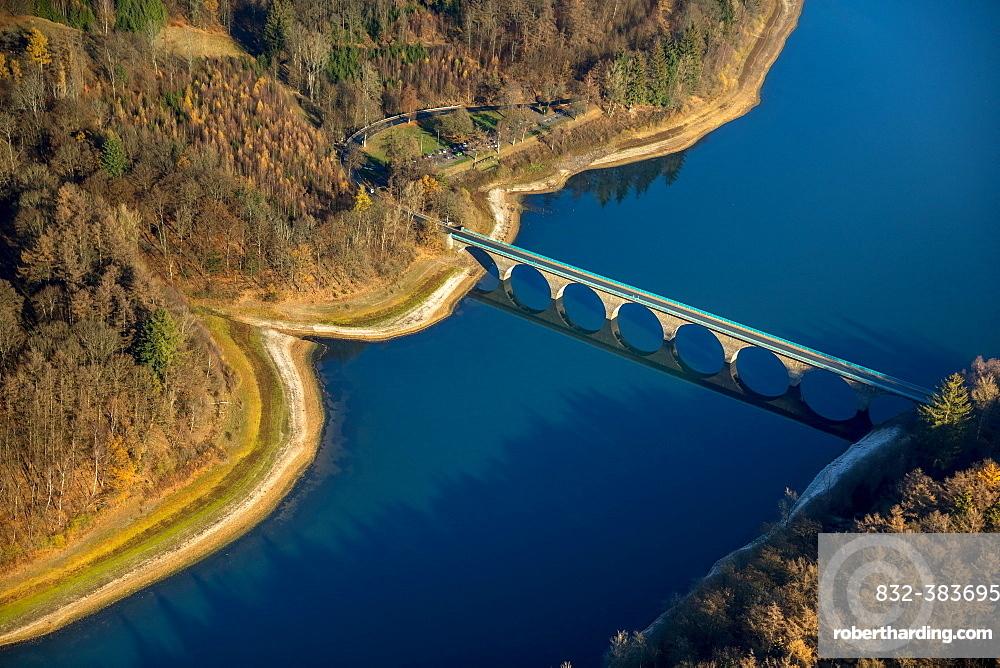 Aerial view, Bridge over Versetalsperre in autumn, Verse, dam, Ludenscheid, Sauerland, Markischer Kreis, North Rhine-Westphalia, Germany, Europe