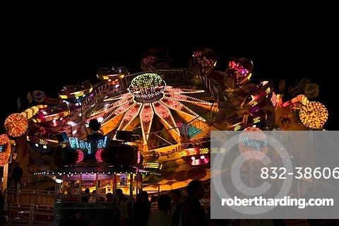 Oktoberfest, Wiesn, Playball, a rotating amusement ride at night, Munich, Bavaria, Germany, Europe