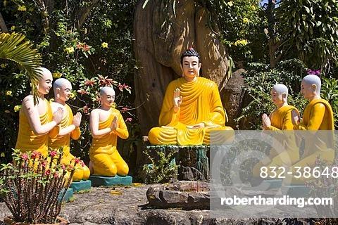 Buddha statues at the Tuyen Lam pagoda, central highlands, Dalat, Vietnam, Southeast Asia