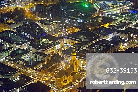 Aerial view, night view, Rheinoldikirche church with Christmas Market, town centre of Dortmund, Ruhr Area, North Rhine-Westphalia, Germany, Europe