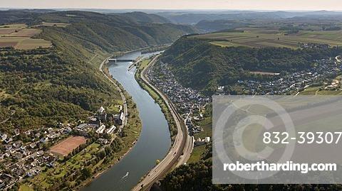 Aerial view, Moselle River, Kobern-Gondorf, Eifel mountain range, Rhineland-Palatinate, Germany, Europe