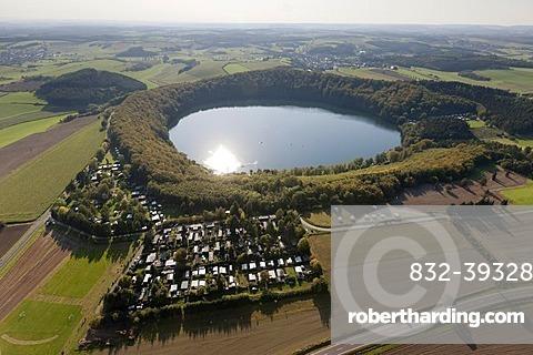 Aerial view, Gillenfeld, Pulvermaar, volcanic lake, camping ground, Eifel mountain range, Rhineland-Palatinate, Germany, Europe