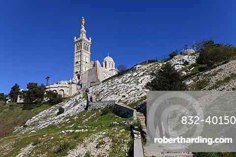 Basilica of Notre Dame de la Garde, Marseille, Marseilles, Bouches-du-Rhone, France, Europe