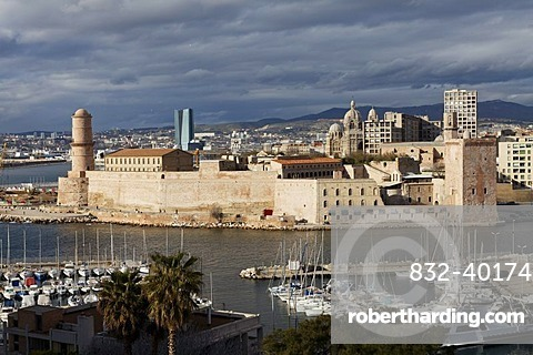 Fort Saint-Jean, entrance of the Vieux Port, old port, Marseille, Bouches-du-Rhone, Provence, France, Europe