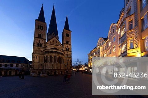 Fisheye view at dusk, Christmas market at the Bonner Muenster, Bonn Minster, basilica, cathedral, Muensterplatz square, Bonn, Rhineland, North Rhine-Westphalia, Germany, Europe