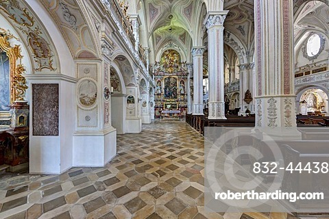 Interior view, parish church of St. Salvator and the Holy Cross, Heilig Kreuz, former Augustinian Canons Church, Polling, Upper Bavaria, Bavaria, Germany, Europe