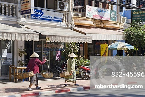 Shops in the main road, Setthathirat Road, Vientiane, Laos, Indochina, Asia