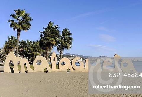 Malagueta, lettering made of sand, Malaga, Spain, Europe