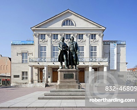 Deutsches Nationaltheater, German national theatre, with Goethe-Schiller monument, Weimar, Thuringia, Germany, Europe, PublicGround