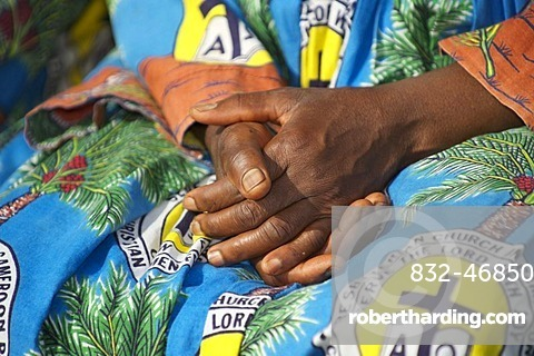Hands of a woman of the Christian Women's Fellowship, CWF, Bamenda, Cameroon, Africa