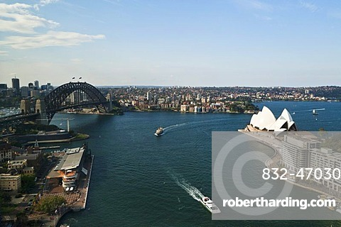 Sydney Cove, with the Opera House and Sydney Harbour Bridge in the harbour, Sydney, New South Wales, Australia