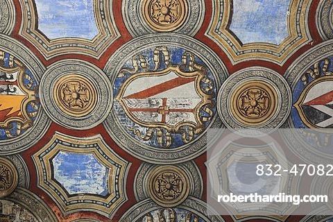 Ceiling frescoes by Parmigianino in Fontanellato Castle, Rocca Sanvitale, Emilia Romagna, Italy, Europe