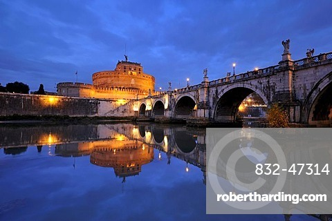 Castel Sant'Angelo and Ponte Sant'Angelo reflected in the Tiber river at dusk, Rome, Italy, Europe