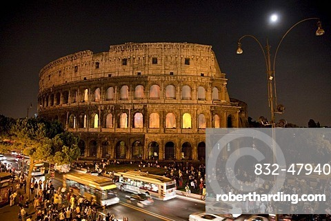 Colosseum at night, Rome, Italy, Europe
