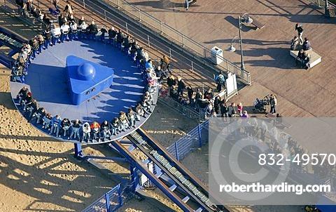 Aerial view, Crazy Surfer, Movie Park Germany, amusement park, Bottrop Kirchhellen, Ruhr Area, North Rhine-Westphalia, Germany, Europe