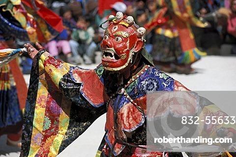 Cham dancer wearing a red mask, Tibetan mask dance, Tibetan festival of a monastery, Sani, near Padum, Zanskar, Ladakh, Indian Himalayas, Jammu and Kashmir, northern India, India, Asia