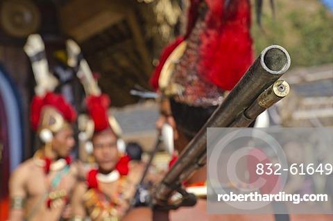 Phom warriors in full gear at the annual Hornbill Festival, Kohima, Nagaland, India, Asia