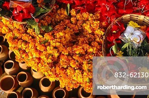Flowers for religious ceremonies and rituals, Varanasi, Uttar Pradesh, India, Asia
