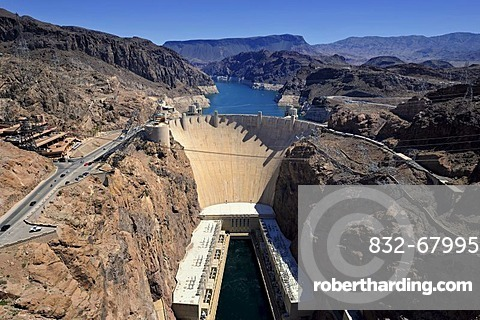 View of the Hoover Dam as seen from the Mike O'Callaghan-Pat Tillman Memorial Bridge, Lake Mead National Recreation Area, Arizona, Nevada, USA, PublicGround
