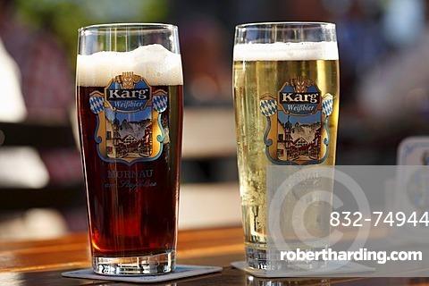 Beer glasses, dark beer and and a glass of beer mixed with lemonade, Aehndl Inn, Murnau, Upper Bavaria, Bavaria, Germany, Europe