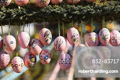 Easter eggs, Easter fountain, Bieberbach, Franconian Switzerland, Upper Franconia, Franconia, Bavaria, Germany, Europe