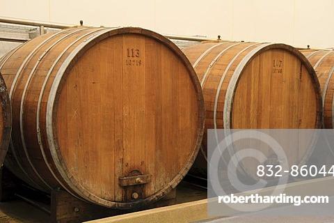 Two large oak barrels for liquor storage, Aalborg Akvavit spirits factory, Aalborg, North Jutland, Denmark, Europe