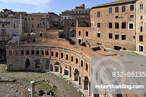 Tabernae or single room shops in the ancient street of Via Biberatica at Trajan's Market, Via Alessandrina, Via dei Fori Imperiali, Rome, Lazio, Italy, Europe