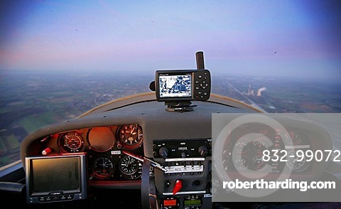Cockpit of a Dimona H36, motor glider, light aircraft, general aviation, private pilots license, over the Ruhrgebiet region, North Rhine-Westphalia, Germany, Europe