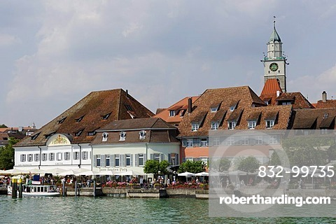Ueberlingen on Lake Constance, lakeside promenade with wharf and the former Greth granary, Baden-Wuerttemberg, Germany, Europe