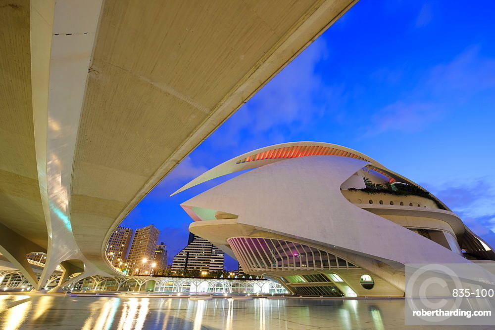 The Palau de les Arts at dusk, City of Arts and Sciences in Valencia, Spain, Europe