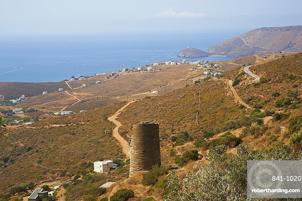 Hellenic tower, Agios Petros, Andros Island, Cyclades, Greek Islands, Greece, Europe
