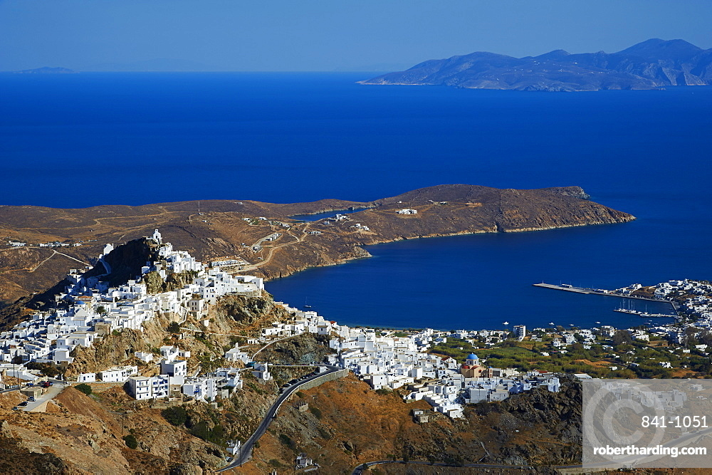 Hora, the main town on Serifos on the rocky spur, Serifos Island, Cyclades, Greek Islands, Greece, Europe