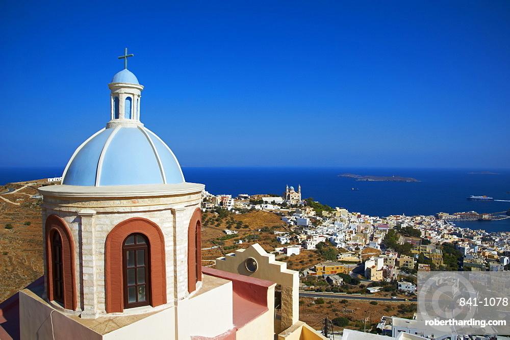Ermoupoli (Khora) and Ano Syros, Syros Island, Cyclades, Greek Islands, Greece, Europe