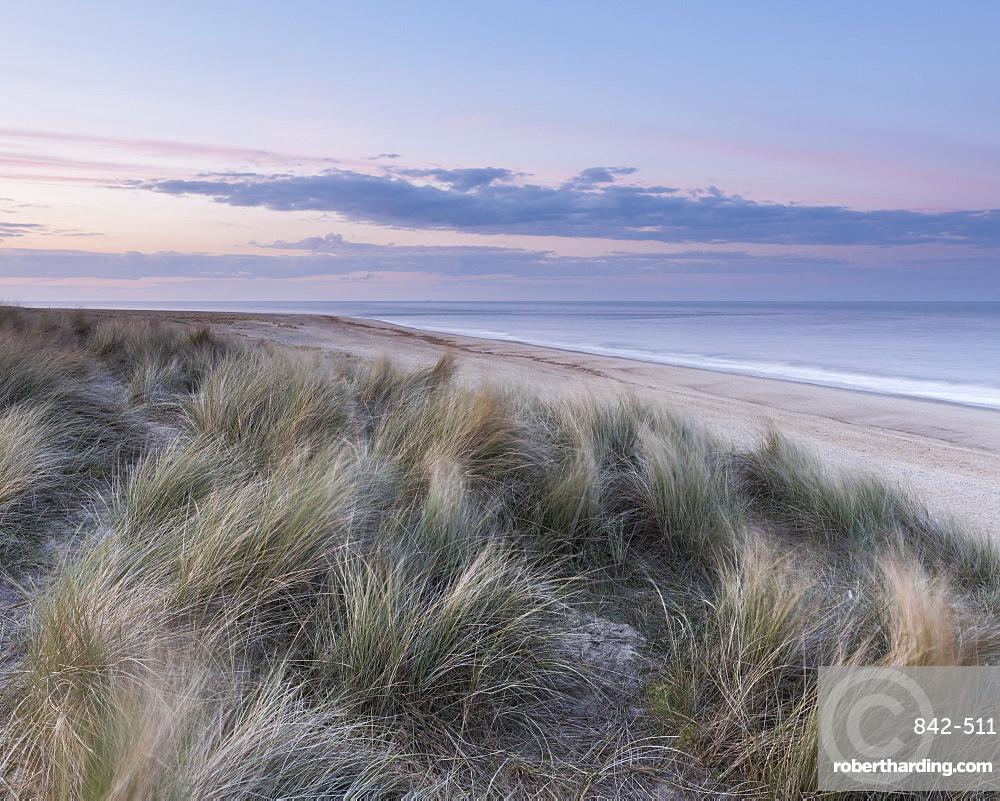 Subtle twilight colours at Winterton on Sea, Norfolk, England, United Kingdom, Europe