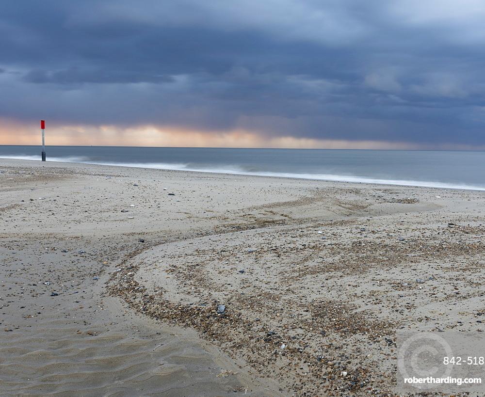 A dramatic stormy sky on the coast at Winterton on Sea, Norfolk, England, United Kingdom, Europe
