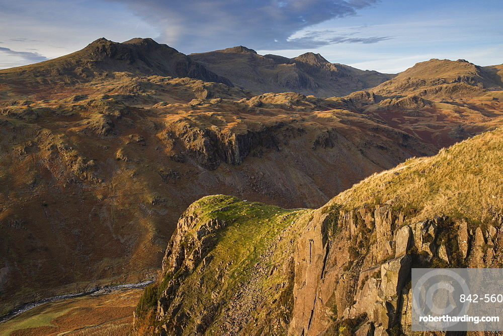 Late evening light on the Scafells from above Hardknott Fort, Lake District National Park, Cumbria, England, United Kingdom, Europe