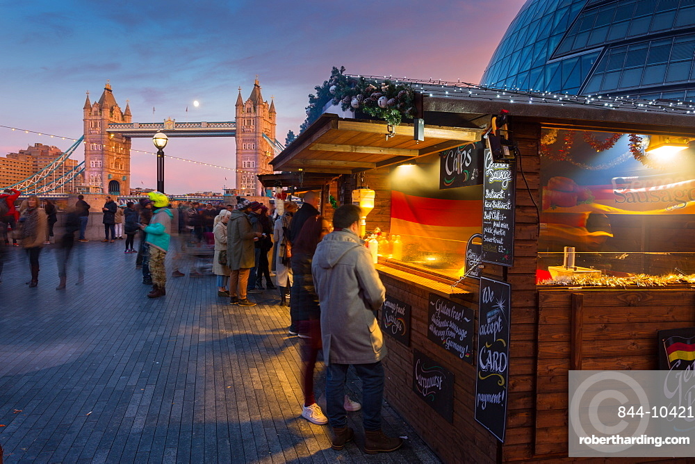 Christmas Market, The Scoop and Tower Bridge, South Bank, London, England, United Kingdom, Europe